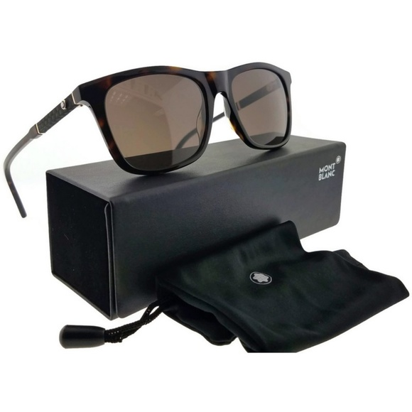 9b66854d77b8 MB606S-52E-54 Square Men s Havana Frame Sunglasses. NWT. Montblanc